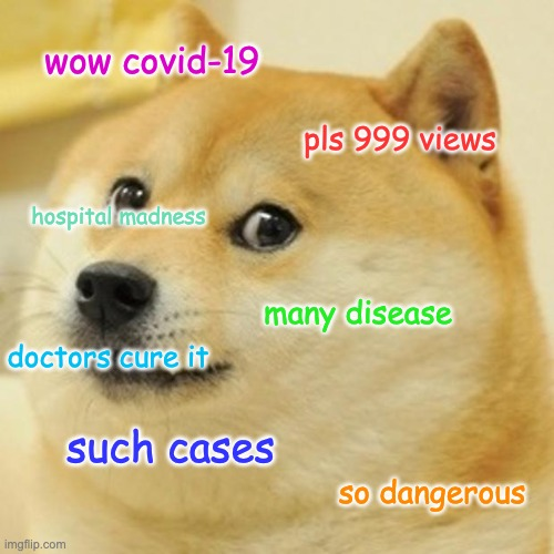 dogerona virus |  wow covid-19; pls 999 views; hospital madness; many disease; doctors cure it; such cases; so dangerous | image tagged in doge,coronavirus,covid-19,disease,dank memes | made w/ Imgflip meme maker