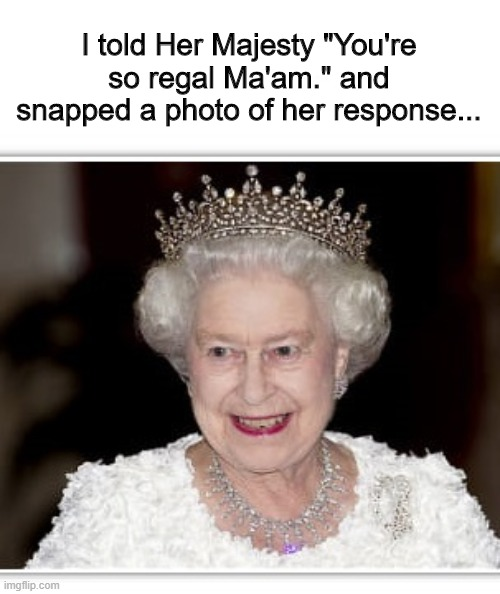 "I told Her Majesty ""You're so regal Ma'am."" and snapped a photo of her response... 