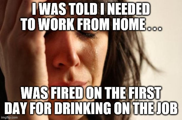 First World Problems | I WAS TOLD I NEEDED TO WORK FROM HOME . . . WAS FIRED ON THE FIRST DAY FOR DRINKING ON THE JOB | image tagged in memes,first world problems,quarantine,drinking,fired | made w/ Imgflip meme maker