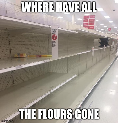 Where have all the flours gone? |  WHERE HAVE ALL; THE FLOURS GONE | image tagged in coronavirus,flour,shelves,empty | made w/ Imgflip meme maker