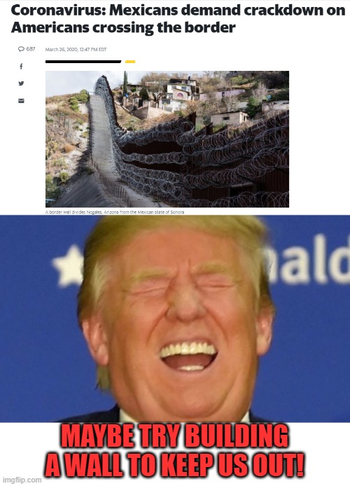 Imagine my shock. LOL |  MAYBE TRY BUILDING A WALL TO KEEP US OUT! | image tagged in trump laughing,nixieknox,memes | made w/ Imgflip meme maker