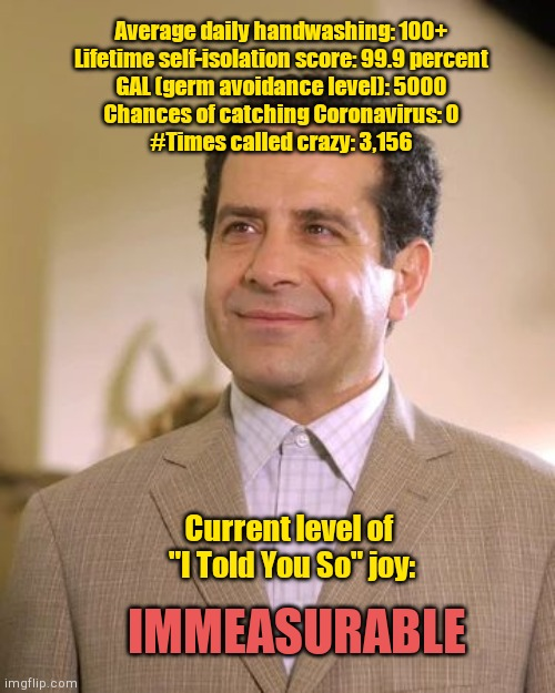 Adrian Monk's Corvid-19 survival stats | Average daily handwashing: 100+ Lifetime self-isolation score: 99.9 percent GAL (germ avoidance level): 5000 Chances of catching Coronavirus | image tagged in adrian monk,coronavirus,humor | made w/ Imgflip meme maker