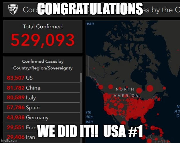 Winning! |  CONGRATULATIONS; WE DID IT!!  USA #1 | image tagged in coronavirus,make america great again | made w/ Imgflip meme maker