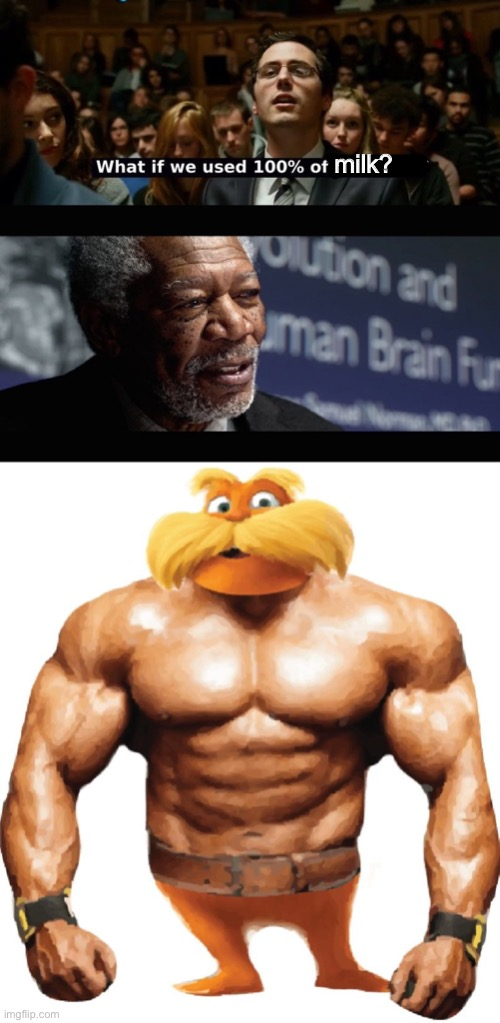 All the Milk |  milk? | image tagged in what if we used 100  of the brain,lorax,buff guy,morgan freeman | made w/ Imgflip meme maker