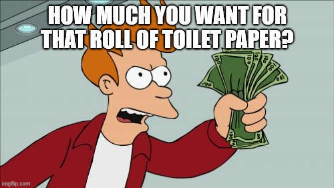 for the tp |  HOW MUCH YOU WANT FOR THAT ROLL OF TOILET PAPER? | image tagged in memes,shut up and take my money fry,toilet paper | made w/ Imgflip meme maker