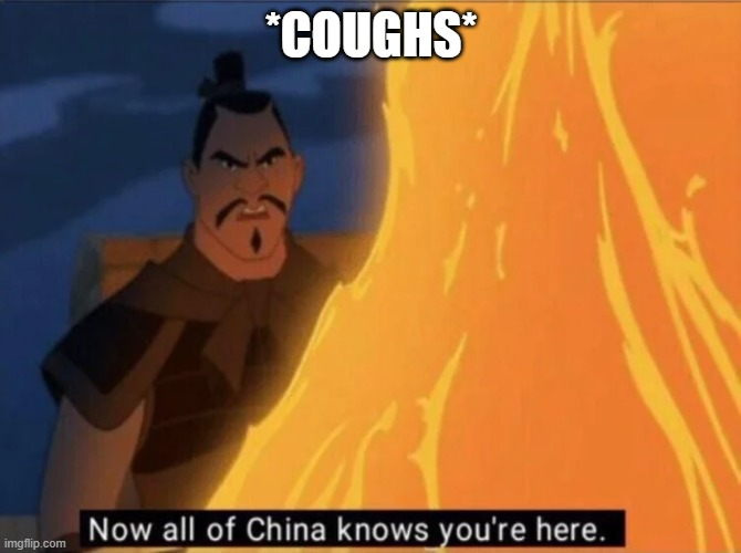 Now all of China knows you're here |  *COUGHS* | image tagged in now all of china knows you're here | made w/ Imgflip meme maker