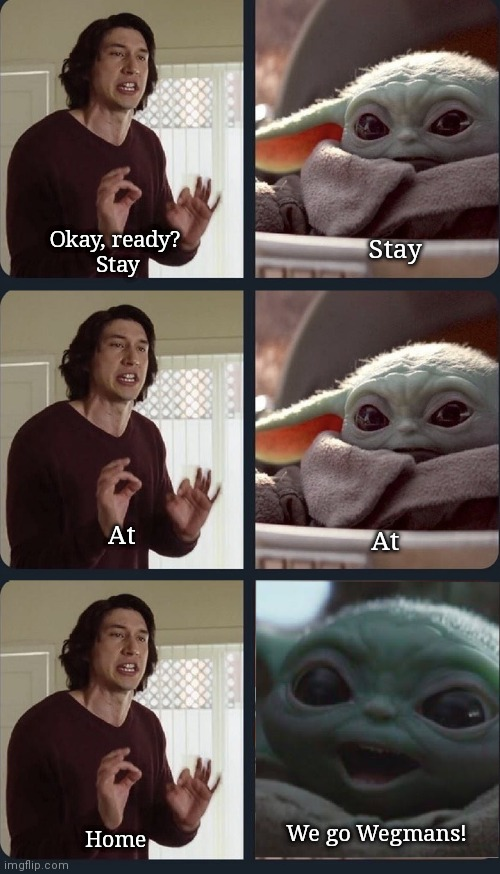 Kylo Ren teaches Baby Yoda to stay home |  Okay, ready?  Stay; Stay; At; At; We go Wegmans! Home | image tagged in kylo ren teacher baby yoda to speak,coronavirus,baby yoda,stay home,quarantine,upvote | made w/ Imgflip meme maker