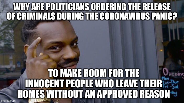 Isn't a jail the VERY DEFINITION of a perfect quarantine? | WHY ARE POLITICIANS ORDERING THE RELEASE OF CRIMINALS DURING THE CORONAVIRUS PANIC? TO MAKE ROOM FOR THE INNOCENT PEOPLE WHO LEAVE THEIR HOM | image tagged in memes,roll safe think about it,coronavirus,stupid liberals,stupid politicians | made w/ Imgflip meme maker