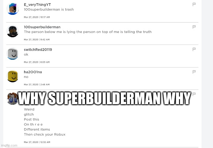 100superbuilderman |  WHY SUPERBUILDERMAN WHY | image tagged in roblox,super cool ski instructor,depressed cat | made w/ Imgflip meme maker