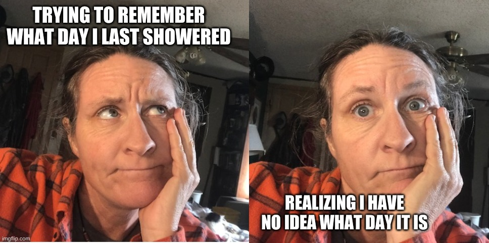 TRYING TO REMEMBER WHAT DAY I LAST SHOWERED; REALIZING I HAVE NO IDEA WHAT DAY IT IS | image tagged in fun,quarantine | made w/ Imgflip meme maker