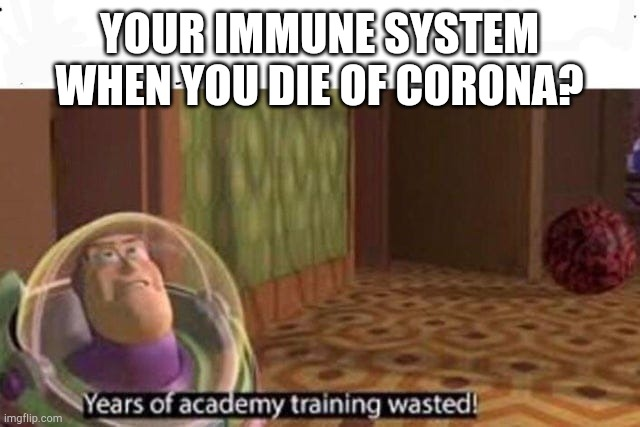 My Corona meme I guess | YOUR IMMUNE SYSTEM WHEN YOU DIE OF CORONA? | image tagged in years of academy training wasted | made w/ Imgflip meme maker