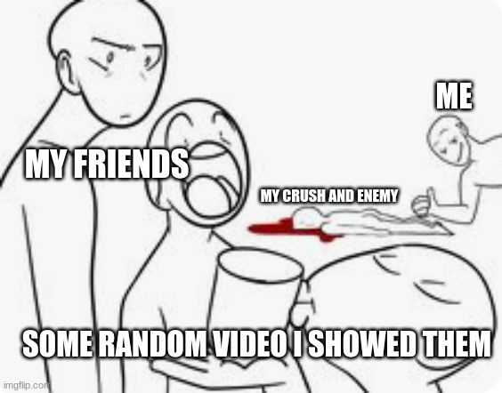 ME; MY FRIENDS; MY CRUSH AND ENEMY; SOME RANDOM VIDEO I SHOWED THEM | image tagged in funny,crush | made w/ Imgflip meme maker