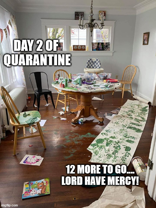 Day 2 of Quarantine |  DAY 2 OF  QUARANTINE; 12 MORE TO GO.... LORD HAVE MERCY! | image tagged in covid-19 | made w/ Imgflip meme maker