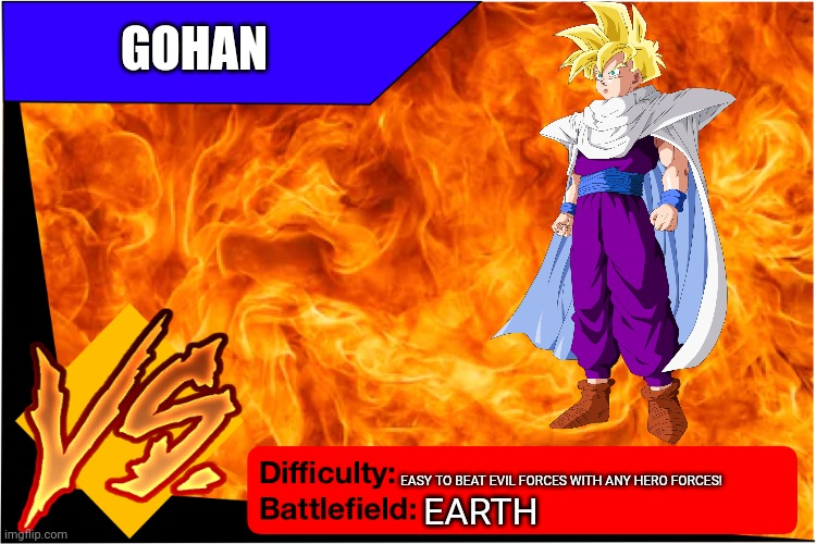 Gohan |  GOHAN; EASY TO BEAT EVIL FORCES WITH ANY HERO FORCES! EARTH | image tagged in raid battle new,gohan,dragon ball z | made w/ Imgflip meme maker