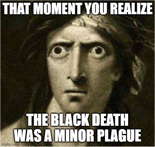 that moment when |  THAT MOMENT YOU REALIZE; THE BLACK DEATH WAS A MINOR PLAGUE | image tagged in that moment when | made w/ Imgflip meme maker