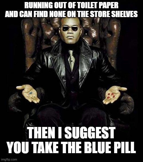 Morpheus has a solution to your current problem |  RUNNING OUT OF TOILET PAPER AND CAN FIND NONE ON THE STORE SHELVES; THEN I SUGGEST YOU TAKE THE BLUE PILL | image tagged in morpheus blue  red pill,tp,no more toilet paper,toilet paper,covid-19,reality is often dissapointing | made w/ Imgflip meme maker