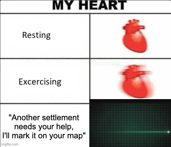 "Godd4mmit Preston! |  ""Another settlement needs your help, I'll mark it on your map"" 