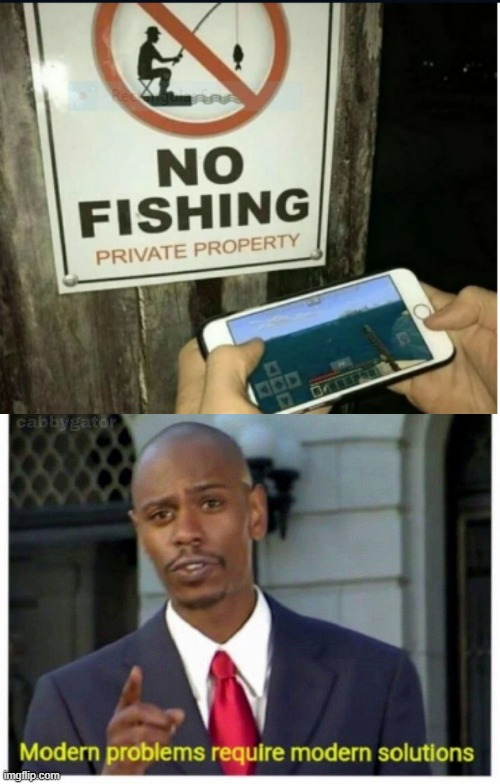 No fishing, I'll fish on my phone | image tagged in modern problems,funny,memes,fishing,minecraft,phone | made w/ Imgflip meme maker