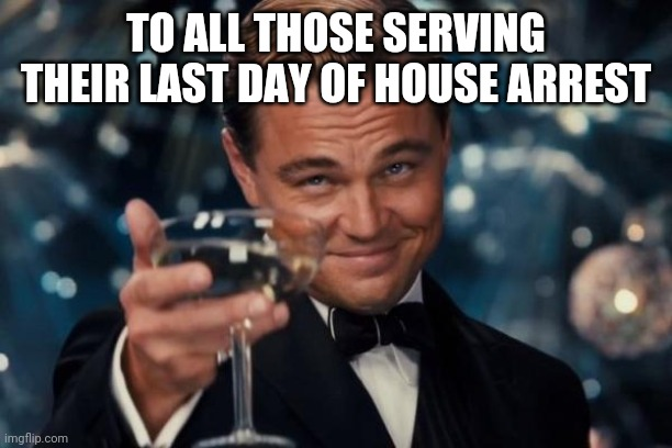 Leonardo Dicaprio Cheers |  TO ALL THOSE SERVING THEIR LAST DAY OF HOUSE ARREST | image tagged in memes,leonardo dicaprio cheers | made w/ Imgflip meme maker
