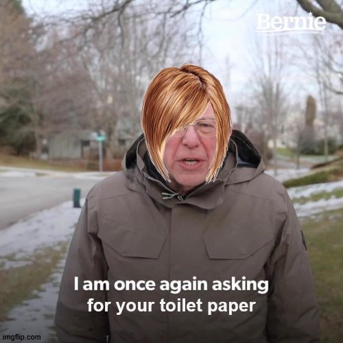 Bernie I Am Once Again Asking For Your Support | for your toilet paper | image tagged in memes,bernie i am once again asking for your support | made w/ Imgflip meme maker