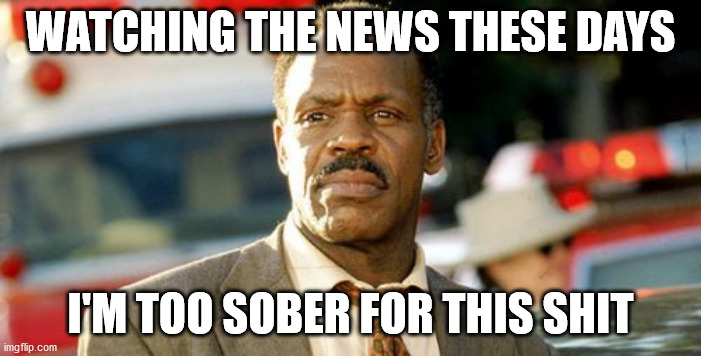 Lethal Weapon Danny Glover |  WATCHING THE NEWS THESE DAYS; I'M TOO SOBER FOR THIS SHIT | image tagged in memes,lethal weapon danny glover | made w/ Imgflip meme maker