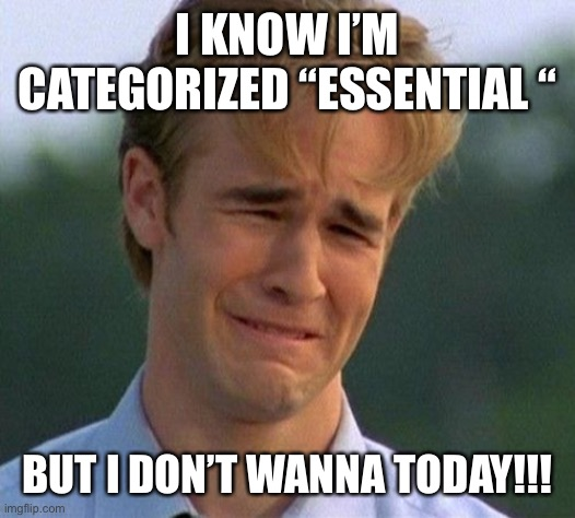 "1990s First World Problems Meme |  I KNOW I'M CATEGORIZED ""ESSENTIAL ""; BUT I DON'T WANNA TODAY!!! 