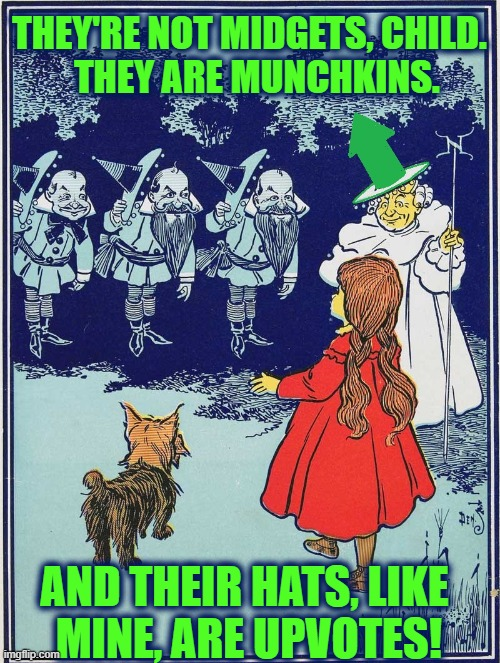 Toto, I don't think we're in Imgflip anymore |  THEY'RE NOT MIDGETS, CHILD.         THEY ARE MUNCHKINS. AND THEIR HATS, LIKE    MINE, ARE UPVOTES! | image tagged in vince vance,munchkin,toto,wicked witch of the west,dorothy,the wizard of oz | made w/ Imgflip meme maker