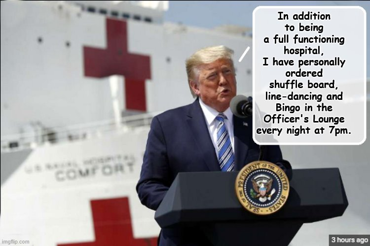 He Thinks of Everything... | In addition to being a full functioning hospital, I have personally ordered shuffle board, line-dancing and Bingo in the Officer's Lounge ev | image tagged in covid-19,coronavirus,donald trump is an idiot,trump is a moron | made w/ Imgflip meme maker
