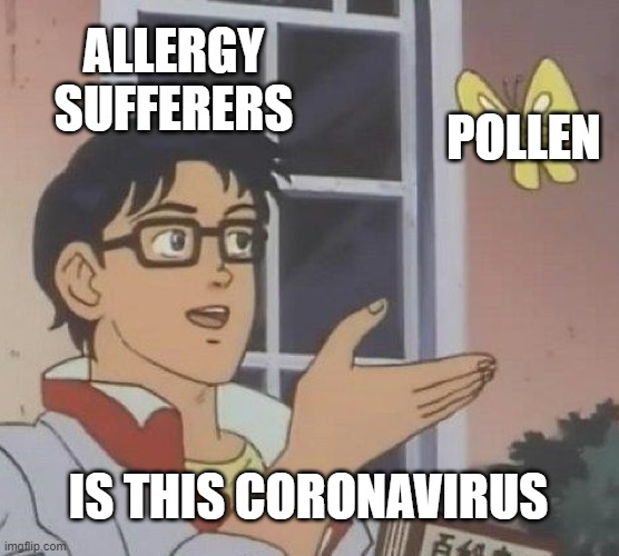 Is This A Pigeon |  ALLERGY SUFFERERS; POLLEN; IS THIS CORONAVIRUS | image tagged in memes,is this a pigeon | made w/ Imgflip meme maker