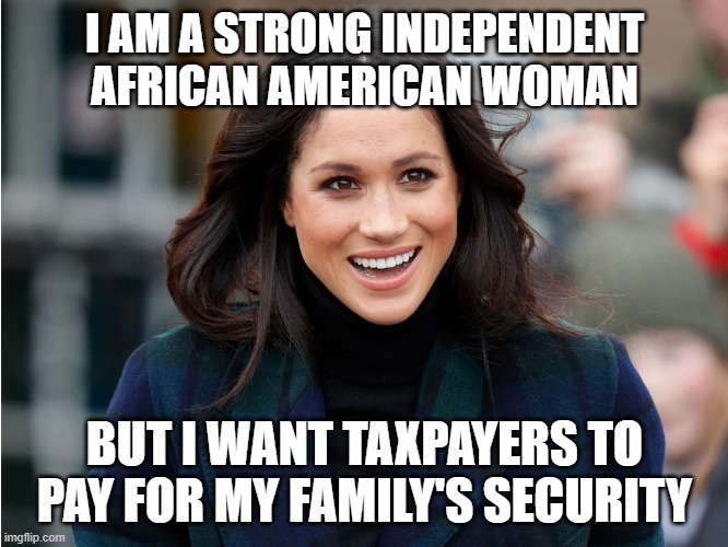 I AM A STRONG INDEPENDENT AFRICAN AMERICAN WOMAN; BUT I WANT TAXPAYERS TO PAY FOR MY FAMILY'S SECURITY | image tagged in celebrity,memes | made w/ Imgflip meme maker