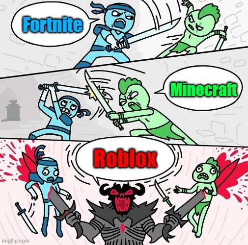 Me vs You vs Them |  Fortnite; Minecraft; Roblox | image tagged in me vs you vs them | made w/ Imgflip meme maker