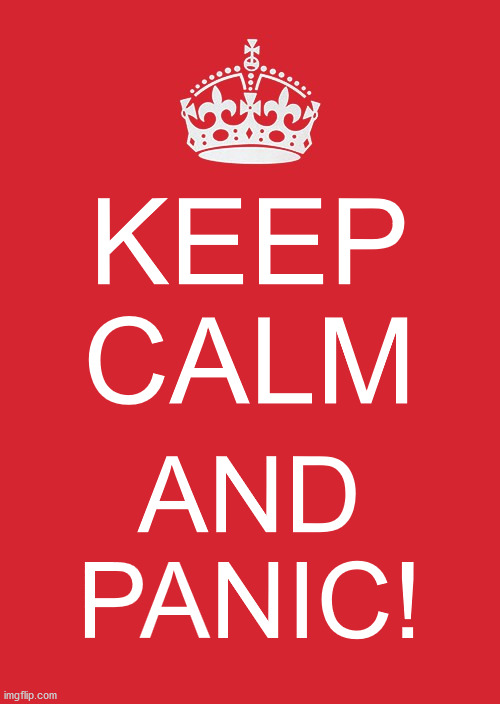 KEEP CALM AND PANIC | KEEP CALM AND PANIC! | image tagged in memes,keep calm and carry on red,covid-19,coronavirus | made w/ Imgflip meme maker