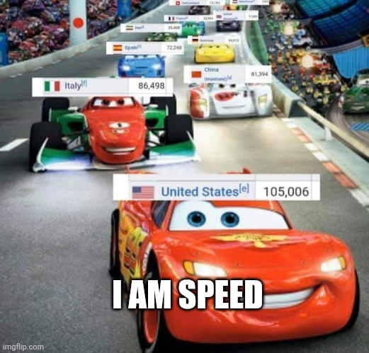 USA: I am speed |  I AM SPEED | image tagged in funny,memes,lightning mcqueen,cars,coronavirus,usa | made w/ Imgflip meme maker