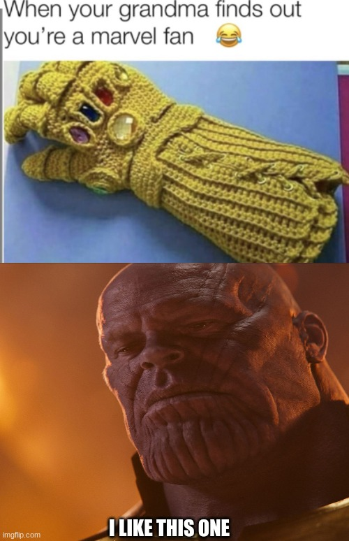 I LIKE THIS ONE | image tagged in thanos,infinity war,grandma,fun | made w/ Imgflip meme maker