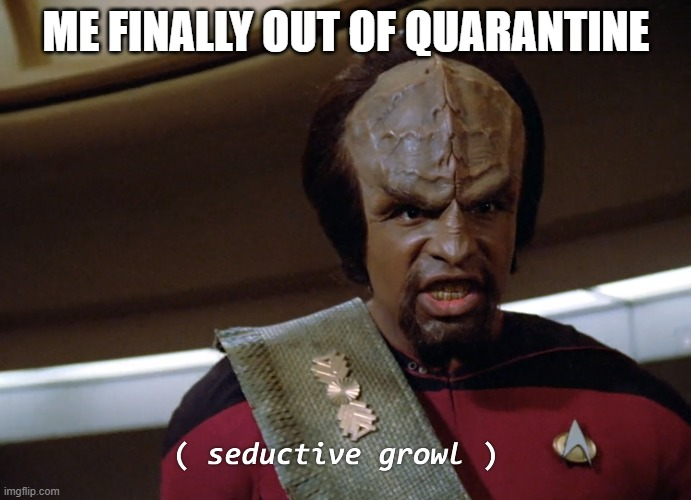 Worf |  ME FINALLY OUT OF QUARANTINE | image tagged in worf,coronavirus,corona virus,corona,2020,march | made w/ Imgflip meme maker