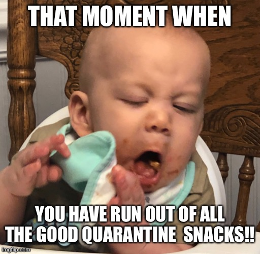 Quarantine |  THAT MOMENT WHEN; YOU HAVE RUN OUT OF ALL THE GOOD QUARANTINE  SNACKS!! | image tagged in quarantine,food,quarantine food,nasty food,baby,snacks | made w/ Imgflip meme maker