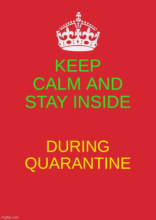 Keep Calm And Carry On Red | KEEP CALM AND STAY INSIDE DURING QUARANTINE | image tagged in memes,keep calm and carry on red | made w/ Imgflip meme maker