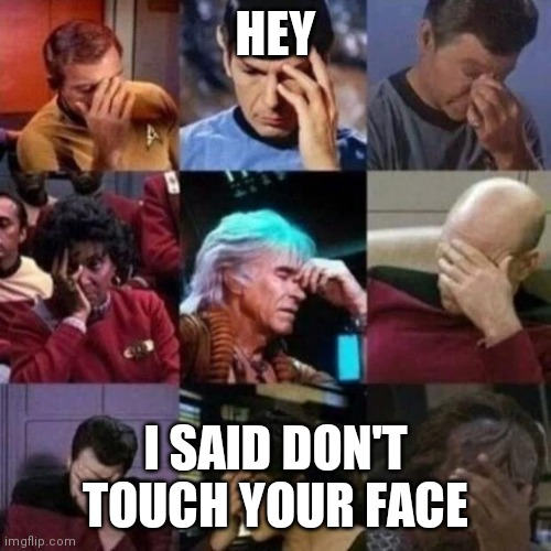 star trek face palm |  HEY; I SAID DON'T TOUCH YOUR FACE | image tagged in star trek face palm | made w/ Imgflip meme maker