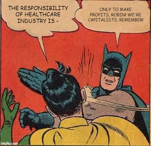 THE RESPONSIBILITY OF HEALTHCARE INDUSTRY IS - ONLY TO MAKE PROFITS, ROBIN! WE'RE CAPITALISTS, REMEMBER! | image tagged in memes,batman slapping robin | made w/ Imgflip meme maker