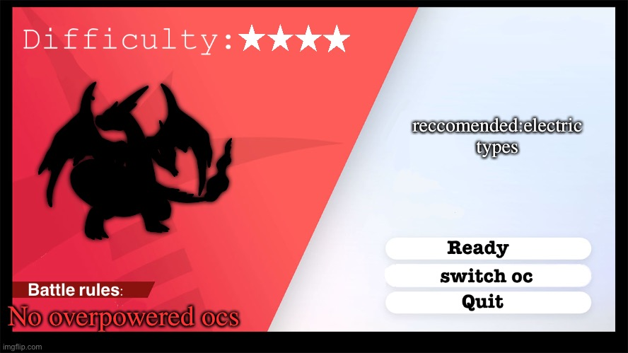 VS leon Y |  reccomended:electric types; No overpowered ocs | image tagged in pokemon style raid battle | made w/ Imgflip meme maker