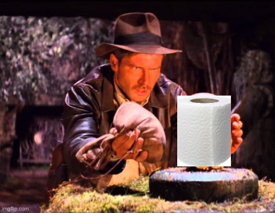 Treasure | image tagged in indiana jones switcheroo,indiana jones,indiana jones toilet paper,coronavirus,corona virus,virus | made w/ Imgflip meme maker