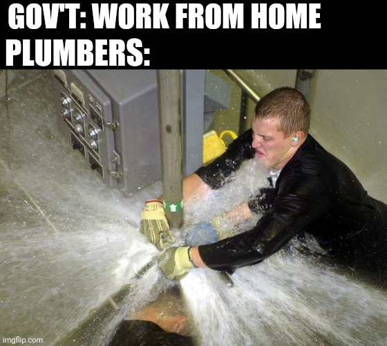 Plumber |  GOV'T: WORK FROM HOME; PLUMBERS: | image tagged in plumber | made w/ Imgflip meme maker