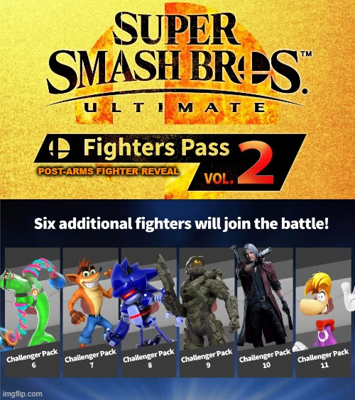 Since an Arms fighter will be challenger pack 6...... |  POST-ARMS FIGHTER REVEAL | image tagged in fighters pass vol 2,super smash bros,dlc | made w/ Imgflip meme maker
