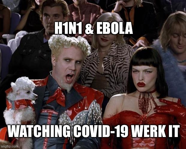 KILLIN' IT |  H1N1 & EBOLA; WATCHING COVID-19 WERK IT | image tagged in memes,mugatu so hot right now,covid-19 | made w/ Imgflip meme maker
