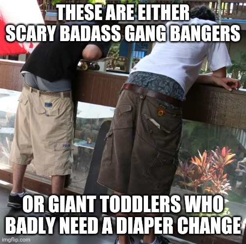 Fellas......are you SURE this style is still cool? FYI toddlers who ain't potty trained have saggy pants too! |  THESE ARE EITHER SCARY BADASS GANG BANGERS; OR GIANT TODDLERS WHO BADLY NEED A DIAPER CHANGE | image tagged in saggy pants,toddler,cool | made w/ Imgflip meme maker