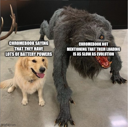 dog vs werewolf |  CHROMEBOOK NOT MENTIONING THAT THEIR LOADING IS AS SLOW AS EVOLUTION; CHROMEBOOK SAYING THAT THEY HAVE LOTS OF BATTERY POWERS | image tagged in dog vs werewolf | made w/ Imgflip meme maker