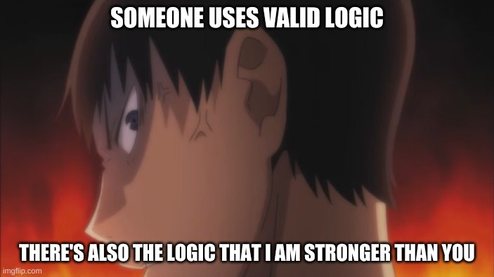 SOMEONE USES VALID LOGIC THERE'S ALSO THE LOGIC THAT I AM STRONGER THAN YOU | made w/ Imgflip meme maker