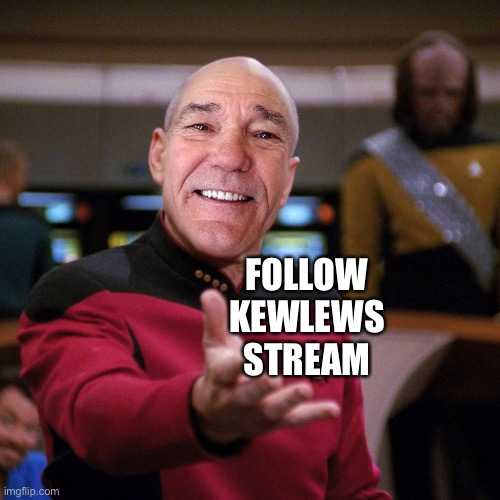 Kewlew needs more followers for his stream. |  FOLLOW KEWLEWS STREAM | image tagged in wtf picard kewlew | made w/ Imgflip meme maker