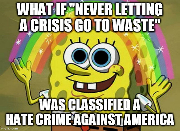 "Imagination Spongebob Meme |  WHAT IF ""NEVER LETTING A CRISIS GO TO WASTE""; WAS CLASSIFIED A HATE CRIME AGAINST AMERICA 