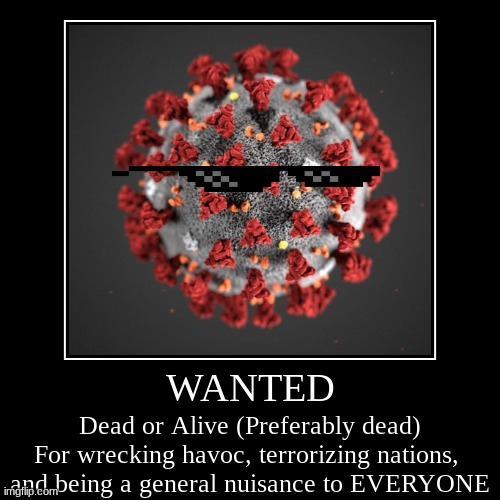 WANTED | WANTED | Dead or Alive (Preferably dead)For wrecking havoc, terrorizing nations, and being a general nuisance to EVERYONE | image tagged in funny,demotivationals,stop reading the tags | made w/ Imgflip demotivational maker